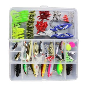 Fishing Lures Mixed Hard Soft Baits Popper Crankbait VIB Top water Floating Fishing Lures Hooks Kit Set with Box