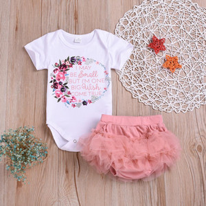 Kids Baby Girl Outfits Clothes Floral Letter Romper Bodysuit+Tutu Dress Sets Dropship Baby Clothes
