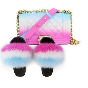 Mullida piel de las mujeres zapatillas Set-bolso peludo Piel real Diapositivas Zapatos del arco iris de colores del hombro jalea del caramelo del bolso de Crossbody del monedero