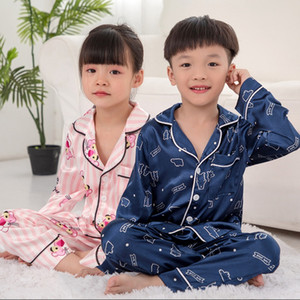 Childrens Pajamas Boys Spring And Autumn Ice Silk Long Sleeve Girls Little Boy Baby Big Boy Thin Tracksuit Set