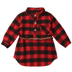 2020 Fashion European & American style Baby summer Dress for Girls Princess Dress Red Plaid Shirt Dresses with Belt Outfits