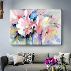 Аннотация Акварель цветок Картина маслом Печать на холсте Modern Wall Art Flower Изображение для гостиной стены плакат КУАДРОС Decor