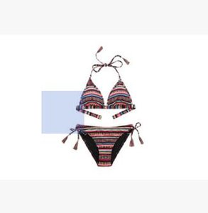 Color flower stripe BIKINI print wheat lady BIKINI swimsuit