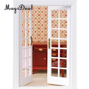 MagiDeal 1Ponga 1/12 Casa de muñecas en miniatura de madera exterior de la puerta francesa para la casa de muñecas Habitación Sala de muebles de juguete blanco Y200428