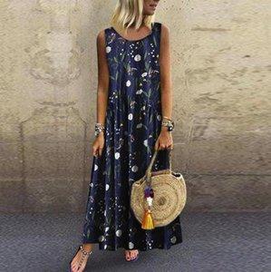 Women Plus Size linen dress Bohemian O-Neck Floral Print plus size dress Vintage Sleeveless Long Maxi sukienki damskie#p2s