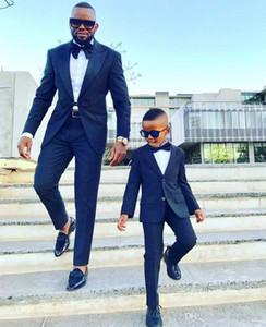 Erkekler Tek Düğme için Lacivert Goorm Suits Yaka Custom Made Balo Suit Groomsmen Erkekler Düğün için smokin Peaked (Ceket + Pantolon + Bow)
