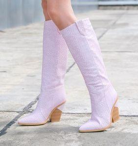 размер 33 до 46 11 цветов ковбойский ботинок женщины высокий колено высокие сапоги указал коренастый каблук дизайнер обуви
