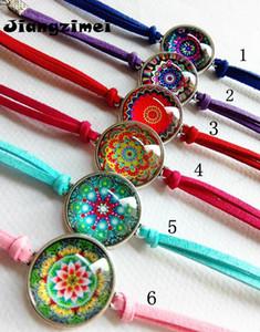 Bracciali braccialetto di cuoio Mandala Buddismo Zen Fiore Picture Glass Cabochon fascino Jiangzimei 24pcs / lot per le donne regalo della ragazza J190703