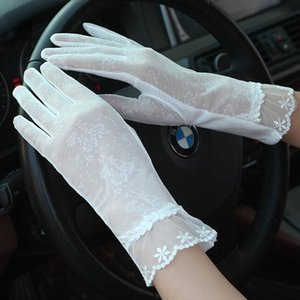 Fashion sexy silk touch screen gloves sunscreen ladies anti-UV summer driving anti-skid cycling elastic lace gloves 05A