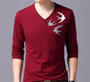 T-shirts manches longues imprimé animal Pull col en V T-shirts Longueur normal Slim Hauts Hommes Dasigner Casual
