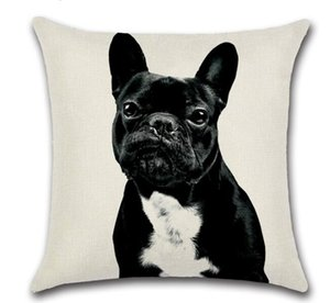 DHL 45*45cm French bulldog Dog Pillow Case Cushion cover Linen Cotton Throw Pillowcases sofa Bed Pillow covers for home nx