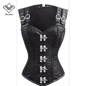 Wechery Steampunk Corset Gothic Clothing Corsets and Bustiers Gothic Black Strap Corset Slimming Vest 12 Steel Boned Bustier Top