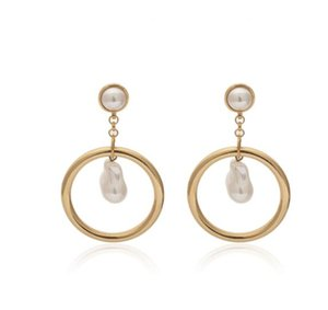 Avrupa ve Amerikan kişilik geometrik püskül halka küpe iş mizaç şeklindeki inci earrings295