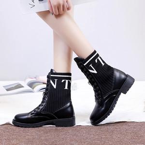 2019 новые ботинки женщин моды кросс-привязанные круглый носок ботинка письмо середины икры носок лодыжки дамы нескользящей Botas Mujer mfeminina
