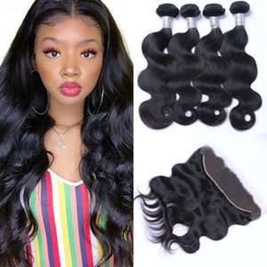 Brazilian Human Hair Body Wave with Frontal Natural Color 13x4 Lace Frontal Closure with 4 Bundles Hair Weave