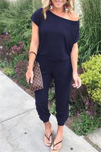 DHL kadın Rahat Crewneck One Off Omuz Elastik Bel Kısa Kollu Uzun Pantolon kadın Tulumlar Tulum Kıyafetler cepler
