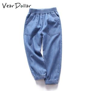 Veardoller 2018 Novo Casual Sólida Crianças Denim Calças Outono Outwear Roupas Infantis Bolso Grande Meninos Jeans Para 3-12 Anos Y19051504