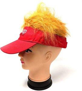 Drôle 2020 Donald Trump cheveux Casquette de baseball vide Visière broderie Cap plage chapeaux de soleil Mae américain Grande Image en noir et rouge HH9-2977