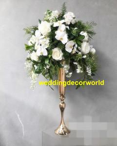 Novo estilo de Alta Metálico Ouro Floral Trumpet Vase Riser Central Do Casamento Floral vaso Decoração Do Corredor Do Assoalho Do Assoalho Do Vaso decor473