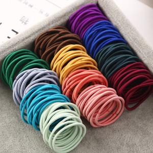 100 teile / los 3 cm mädchen elastische haarbänder gummiband scrunchies stirnband pferdeschwanz halter gum