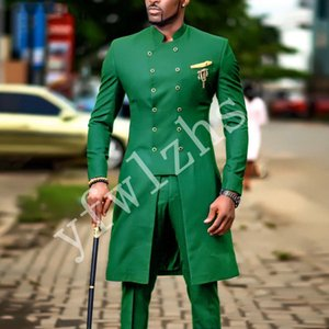 Newest Double-Breasted Groomsmen Mandarin Lapel Wedding Groom Tuxedos Men Suits Wedding Prom Dinner Best Man Blazer(Jacket+Tie+Pants) T28