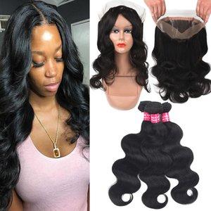 9А бразильского Виргинские волос объемной волны 3Bundles с 360 полный кружева закрытия тела глубокий Свободная волна Kinky вьющиеся человеческих волос прямо с закрытием 360