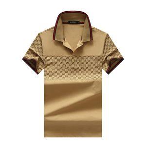 2019 Италия дизайнера бренда поло рубашки Роскошные футболки змея пчелиной цветочной вышивкой MENS Polos High уличной моды полосой печати поло футболки 22
