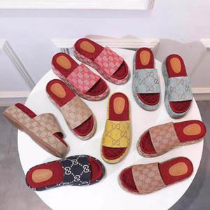 2020 mujeres de verano nuevo diseño de cuña impermeable diapositivas 2020G con tejido estampado superior, zapatillas clásicas con forro de piel de becerro, caja original