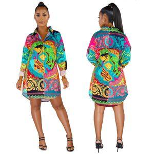Sexy vestidos S-XXXL 2020 diseñador de moda los vestidos de verano de verano de las mujeres de lujo Impreso casuales de manga larga vestidos de mujer