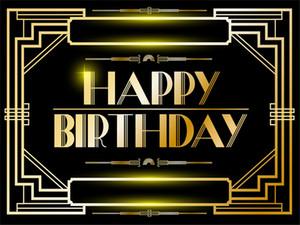 Gatsby العظيم عيد ميلاد سعيد بانر Photography Vinyl Backdrops مخصص الذهب والخلفيات كشك الصور السوداء
