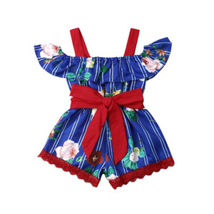 PudcocoKids Baby Girls Off Shoulder Flower Romper Bodysuit Short Pants Outfits Clothes One-pieces Baby Summer Clothing