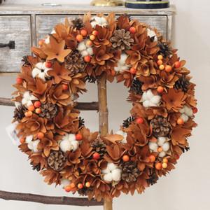 Christmas Wreath Agriturismo Arredamento Natura Fiori Cotone legno rustico Decorazione di caduta Hanging Front Door Wreath Guirnalda Navidad