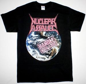 PUNHO NUCLEAR ASSAULT COM CUIDADO S.O.D. TRASH METAL PRETO NOVO T-shirt dos homens impresso Camiseta tamanho de roupa Top Tee Além disso,