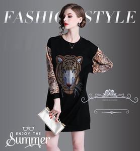 Мода женщин бисероплетение и горный хрусталь платья, хорошая печать Леди Весна платье, с длинным рукавом, круглый вырез, панелями юбки