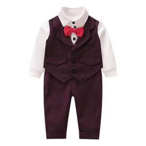 Autumn and winter newborn baby clothes bow tie vest children's clothing baby gentleman romper dress explosion