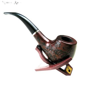 Wholesale-Hot Sale Classic Wooden Enchase Carved Smoking Cigarette Pipes Filter Tobacco Pipe #52813