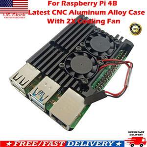 Für Raspberry Pi 4B Neueste CNC-Aluminiumlegierung-Kasten-Gehäuse mit Kühlventilator US
