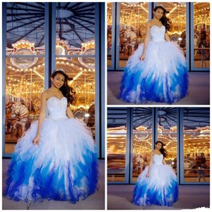 Sequins Beaded Sweetheart Quinceanera Gowns Pretty Gradient Blue Cascading Ruffles Lace Up Prom Dress Puffy Tiered Floor Length Ball Gown