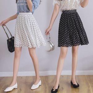 Apperloth A Chiffon Wave Point Mid-length Half-Blood Skirt Spring 2020 New High-waisted Thin pleated Skirt
