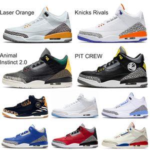Nike Air Jordan Retro 3 3s Animal Instinct 2.0 Hommes Jumpman III Laser Orange PIT CREW Chaussures de basket-ball UNC Ciment rouge Varsity Royal Trainers Athletic Sport Taille 13