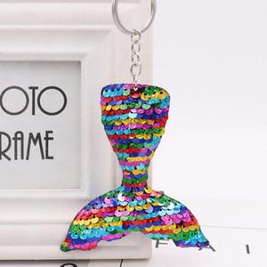 MOQ: 30PCS Art und Weise Schlüsselanhänger Mermaid Fish Tail Pailletten-Schlüsselring-Anhänger-Verzierung für Mädchen Tasche Schmuck
