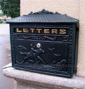 Buzón de aluminio fundido para el hogar Metal Post Mailbox Montado en la pared Verde oscuro Vintage Cartas postales Caja Jardín al aire libre Ddecoration Pared bloqueable