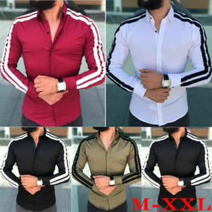 New Spring Autumn Features Shirts Men Casual Striped Shirts Long Sleeve Luxury Casual Office Slim Fit Male Dress Shirts