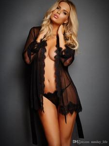 Ücretsiz Kargo !!! Sexy Lingerie Kadın Şeffaf Dantel Nightie Erotik Elbise Gece Kıyafeti Robe Seks Lingerie Pijama Setleri Kadın Gecelikler