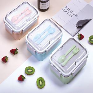 Portable Boîtes à Bento 3 étudiants Grids Lunch Box Fully Food 2 Grids scellé Boîte à lunch Boîtes à lunch avec thermique Fourchette et cuillère T2I51055