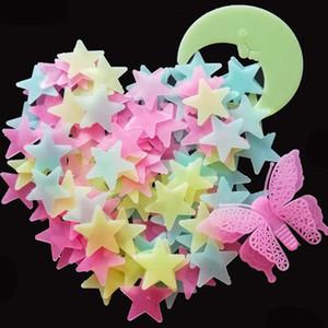 256pcs / set Glow Sterne / Mond / Shooting Stars / Schmetterling Aufkleber Baby-Kind-Dekorationen Raumdecke Hell leuchtende Wand-Aufkleber Abziehbilder B1