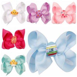Девочка Пасхальное яйцо Шпилька Девушка Candy Цвет Bowknot Pin младенца зажим для волос Красочные Симпатичные Головные уборы Аксессуары для волос партии подарков WY534Q