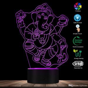 Ganesh Elefant Hindu Lichtkunst-Schreibtischlampe Ganesha Hindu Gott LED-Nachtlicht Spiritual Ganapati Religiöse Elefant Tischlampe