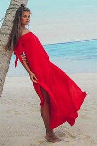 Vestito nero causale Abbigliamento Estate Slash collo abiti in chiffon Beach Split asimmetrica del vestito dalle signore sexy Viaggiare