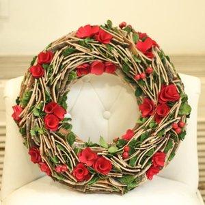 Partido de Granja de la guirnalda de flores de madera naturales Bayas Las hojas de la guirnalda Decoración de boda que cuelga decoración de la pared País Coronas